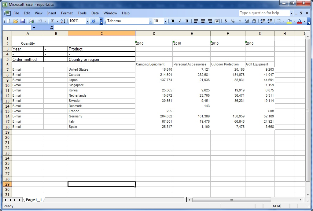 Option To Group Repeating Cells In Reports Produced In Excel 2007 Format