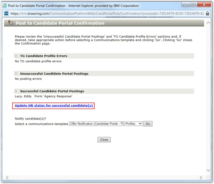 Candidate Portal integration into Candidate Zone