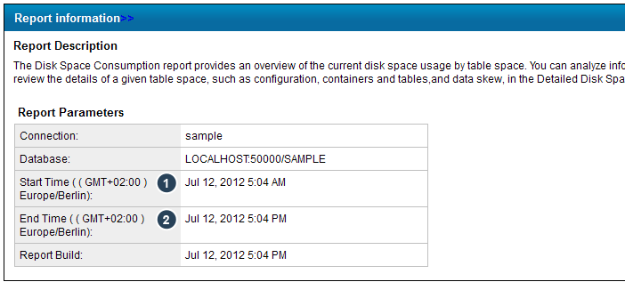 Scenario 2 - Extract data as shown in the Disk Space Consumption report