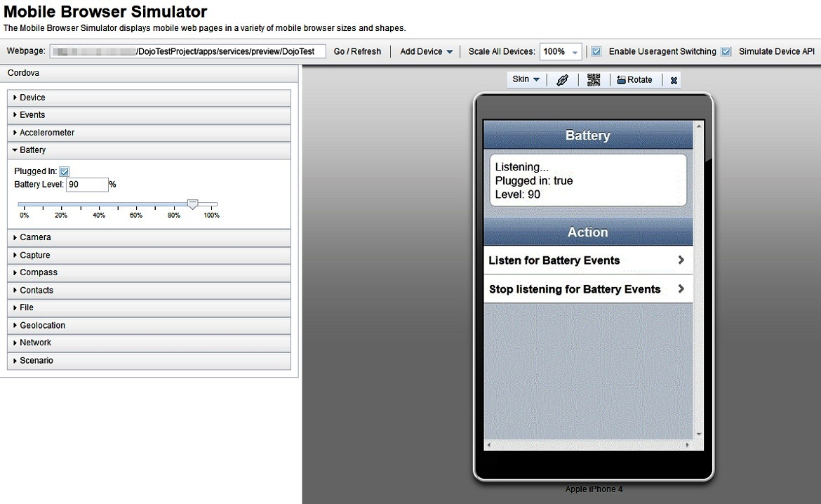 Previewing Cordova web resources with the Mobile Browser Simulator