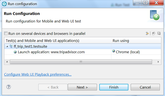 Running a Web UI test on multiple browsers and devices