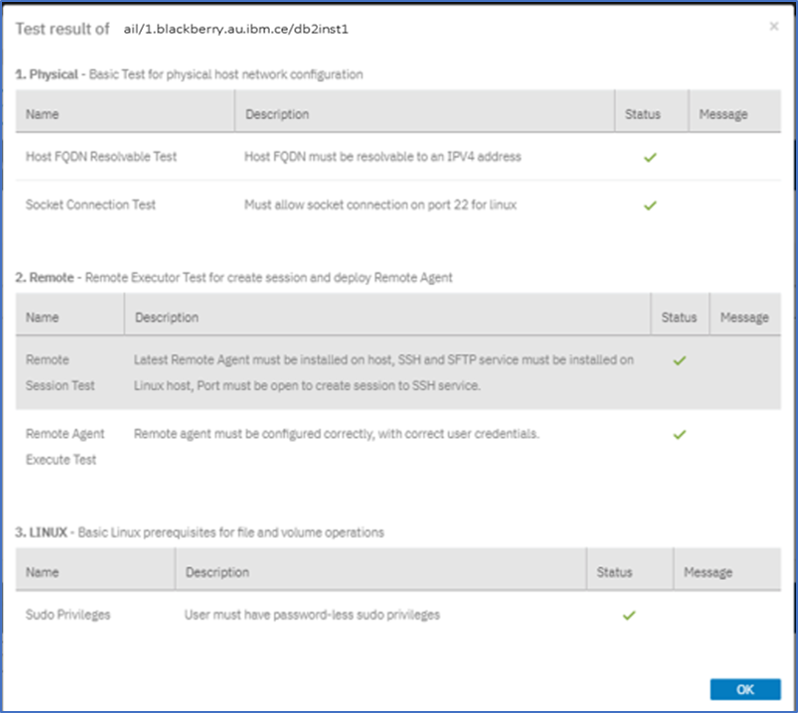 Testing the connection between the Db2 server and IBM Spectrum