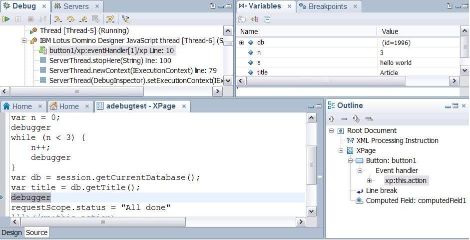 Running the JavaScript debugger
