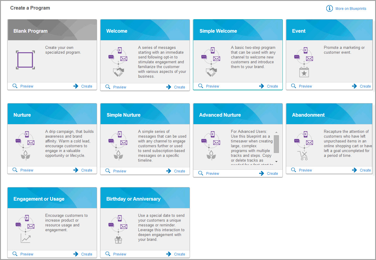 Archived whats new the exciting new blueprints feature will be available in the watson campaign automation automation programs create menu shortly after the upcoming malvernweather Images