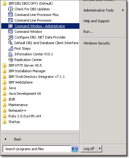 Creating a DB2 database for Windows - IBM Connections