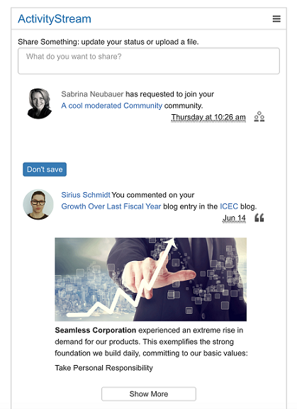 Activity Stream - IBM Connections Engagement Center