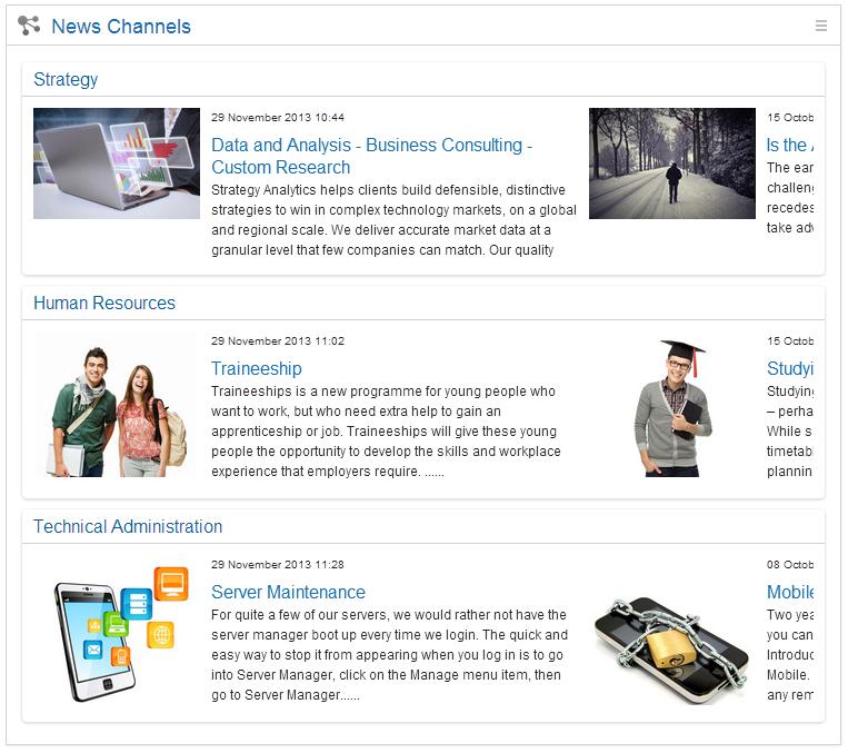 News Channel widget - IBM Connections Engagement Center