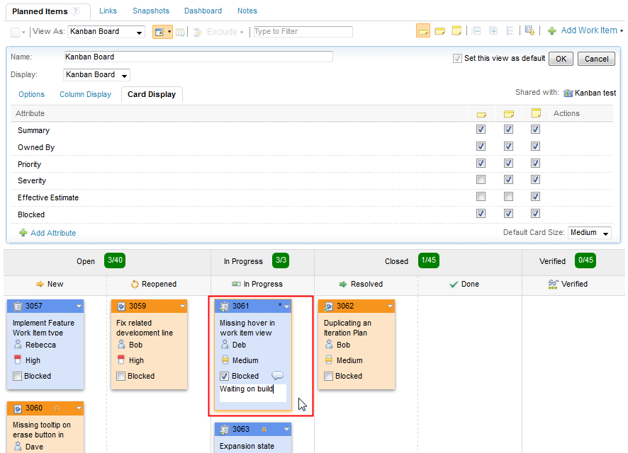 Viewing work items with the Kanban board