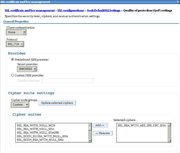 Selecting IBM WebSphere Application Server cipher suites