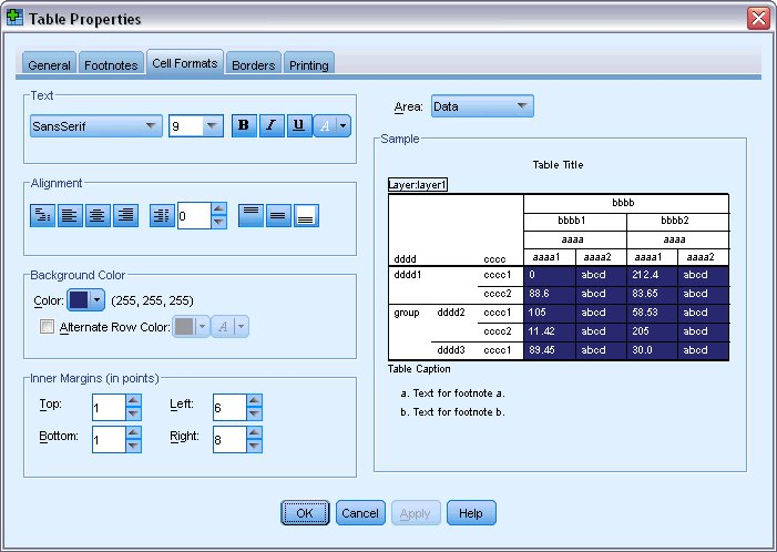 Customizing tablelook styles - Html table cell properties ...