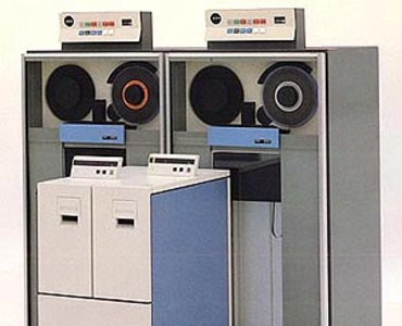 The IBM 3480 (two drives in front) and IBM 3420 (two drives in back) Tape Drives