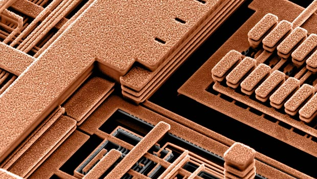 A close-up of a copper chip