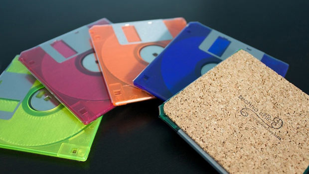 A colorful array of floppy disk coasters