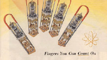 "IBM ad ""Fingers you can count on"" with vacuum tubes placed like fingers"