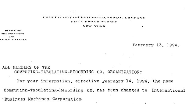 Letter announcing C-T-R's name change to International Business Machines