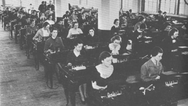 Women working at tabulating machines
