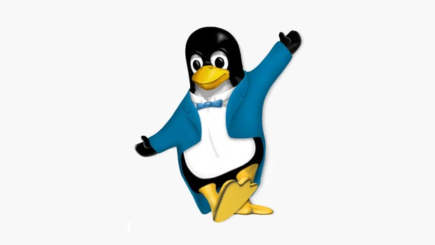 Tux avatar dressed in a blue tuxedo