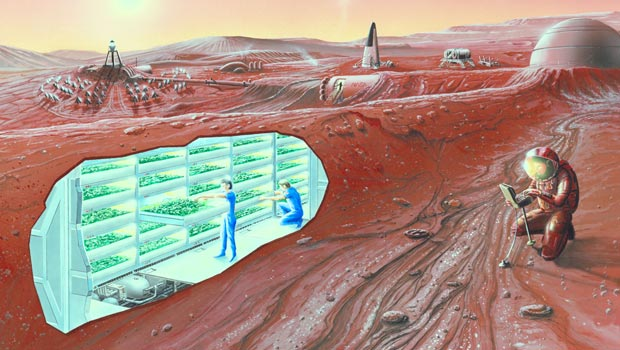 Illustration of a habitation on Mars