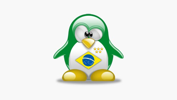 Linux penguin in the style of the Brazil flag