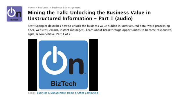 Mining the Talk: Unlocking the Business Value in Unstructured Information - Part 1 (audio)