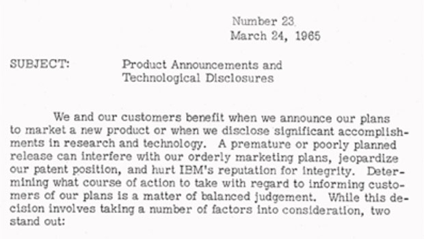 The 1965 Executive Memo from Thomas Watson Jr. that defined standards for product announcements