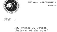 NASA Letter head addressed to Mr. Thomas J. Watson, Chairman of the board