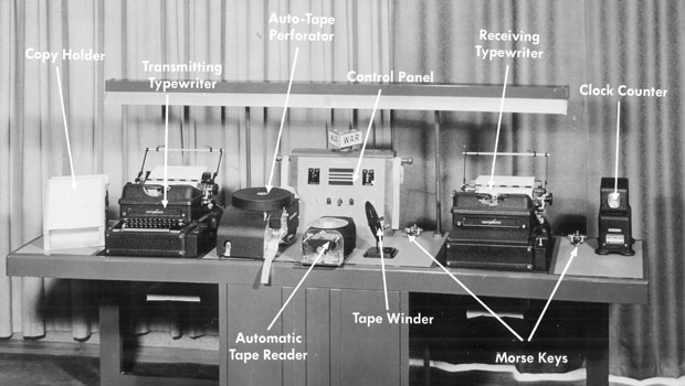 Radiotype unit with all of it's components labeled