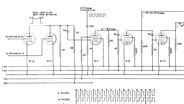 Ten-pulse control switch and power tubes technical drawing