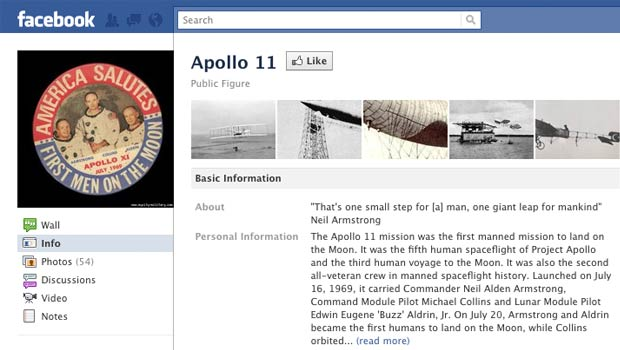 Screengrab of Facebook's Apollo 11 page