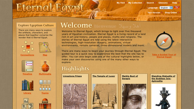Screen grab of the Eternal Egypt site