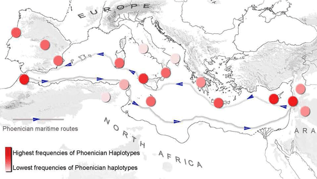 Diagram showing the Phenician Footprints in the Mediterranean Basin