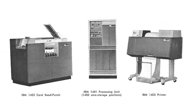 The three components of the IBM 1400 series: 1401, 1402 and 1403