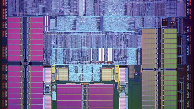 The inside of a microprocessor, filled with copper chips