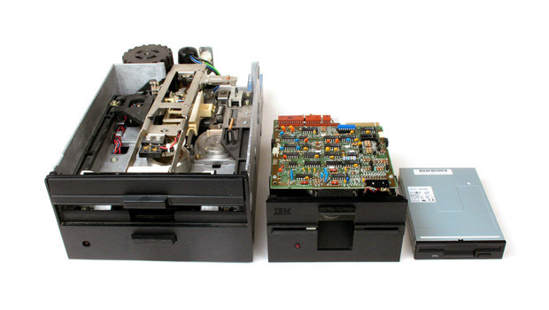 Three sizes of floppy disk drives together