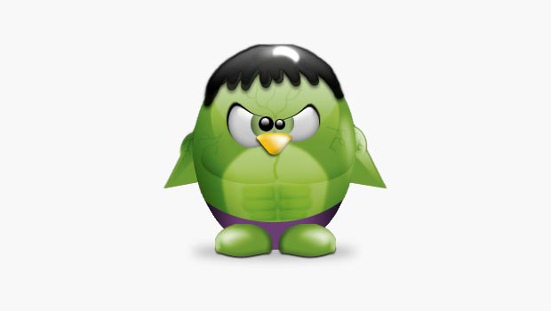 Tux avatar dressed as the Incredible Hulk