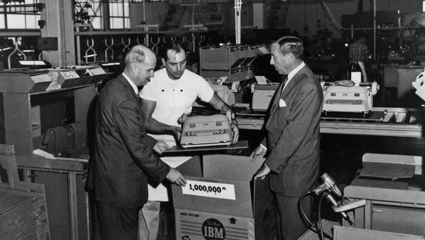 IBM's 1 millionth typewriter being packed to ship