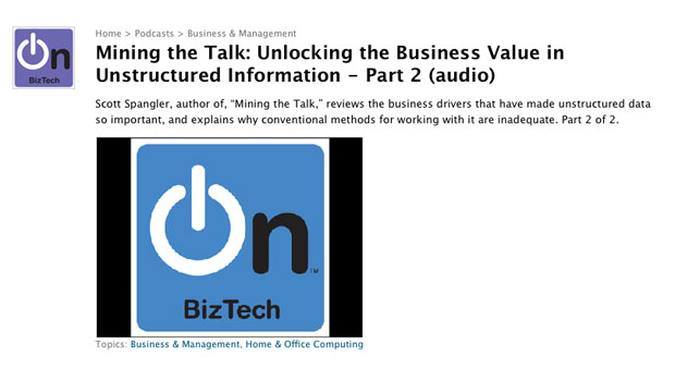 """Mining the Talk: Unlocking the Business Value in Unstructured Information - Part 2 (audio)