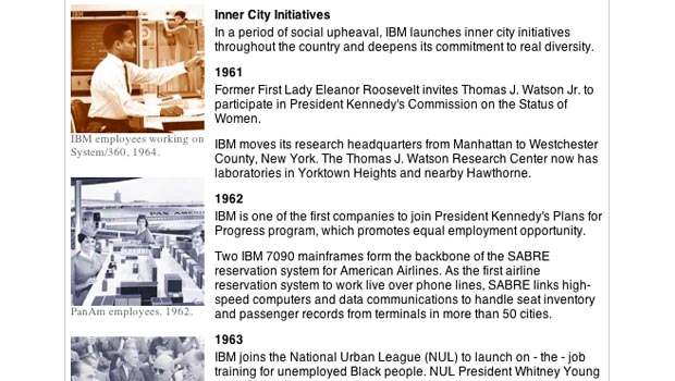 Screengrab from the IBM Heritage page