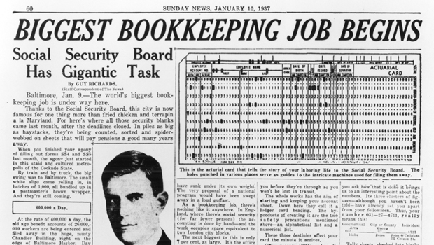 Newspaper article: Biggest Bookkeeping Job Begins: Social Security Board Has Gigantic Task