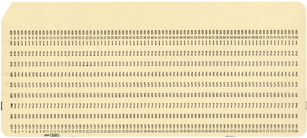 IBM 80 Column punched card