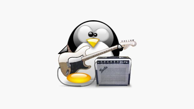Tux avatar with a guitar and amp