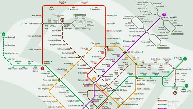 The Singapore Land Transport Authority map