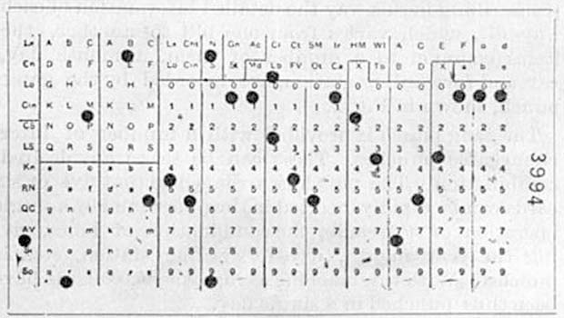 Hollerith punched card