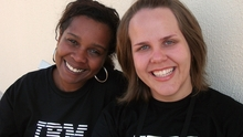 IBM employees and volunteers for the Corsini Center, Kelsibele Farias (left) and Carol Ferreira