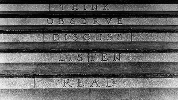 Steps to the IBM schoolhouse, which say Read, Listen, Discuss, Observe and Think