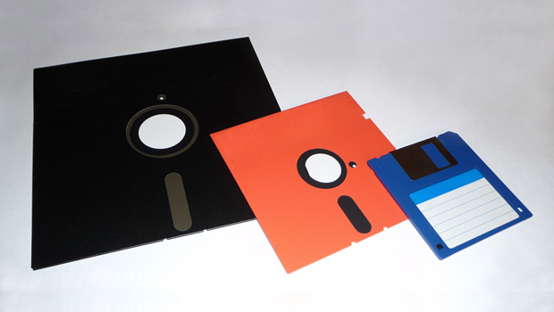 Three sizes of floppy disks together