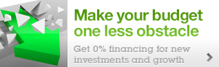 Make your budget one less obstacle Get 0% financing for new investments and growth