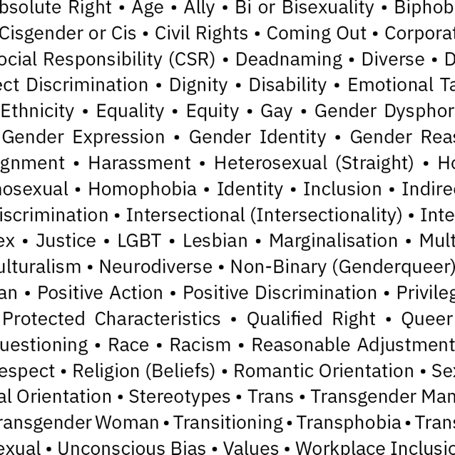 Sample list of various inclusivity words