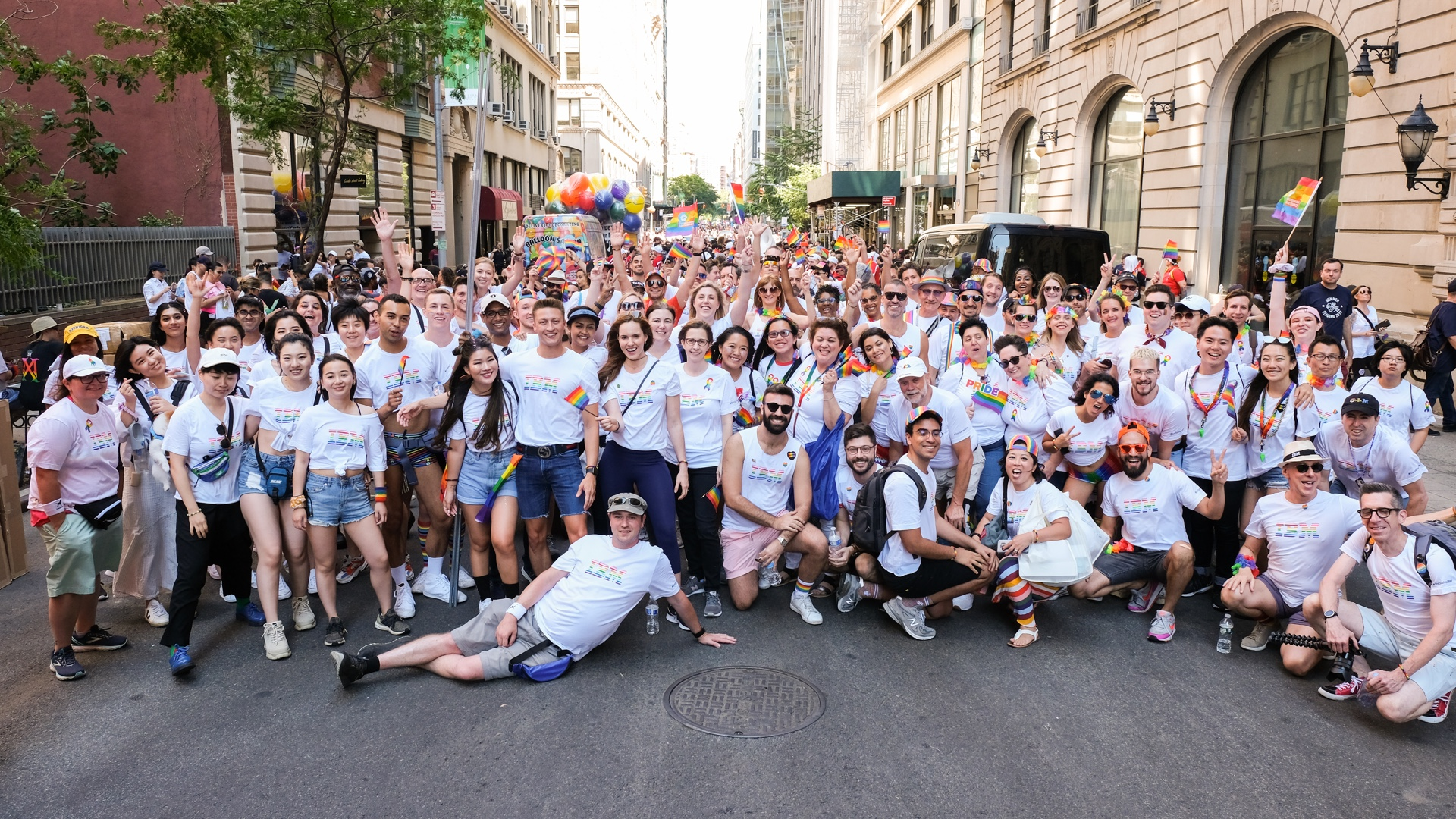 IBMers' on the street celebrating pride