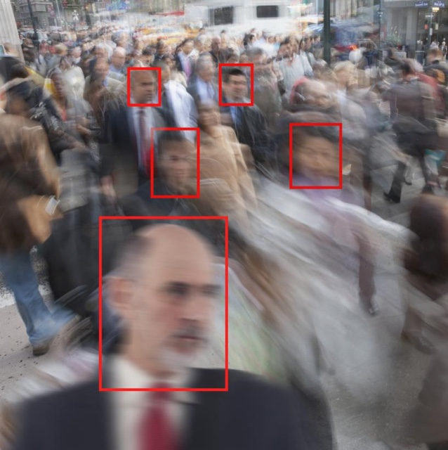 Photo of commuters with facial recognition boxes around their faces